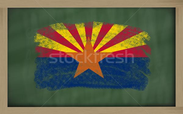 Vlag Arizona Blackboard geschilderd krijt amerikaanse Stockfoto © vepar5