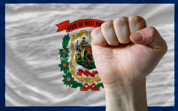 us state flag of west virginia with hard fist in front of it sym Stock photo © vepar5