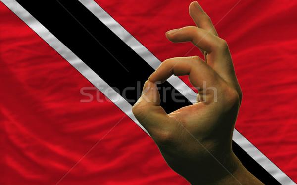 ok gesture in front of trinidad tobago national flag Stock photo © vepar5