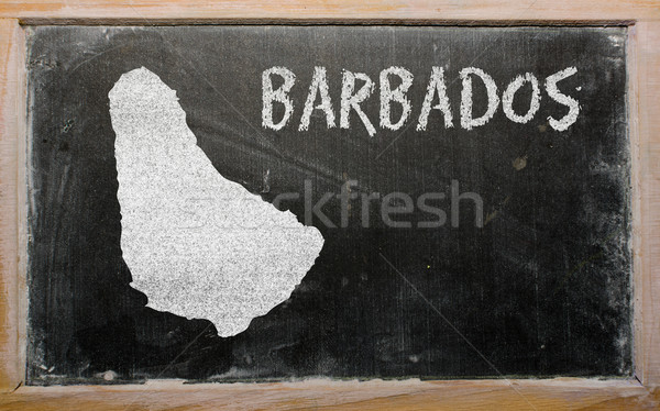Schets kaart Barbados Blackboard tekening Stockfoto © vepar5