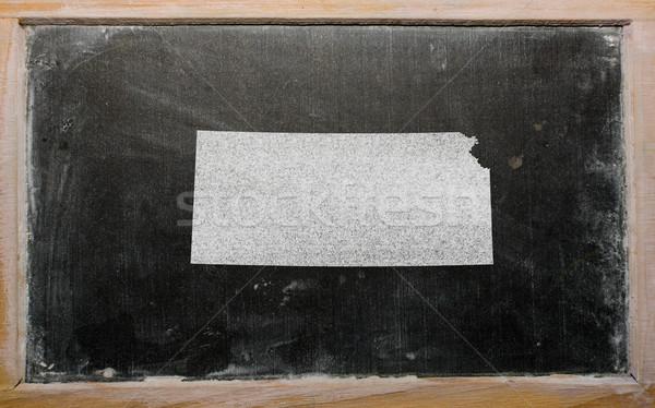 outline map of us state of kansas on blackboard  Stock photo © vepar5