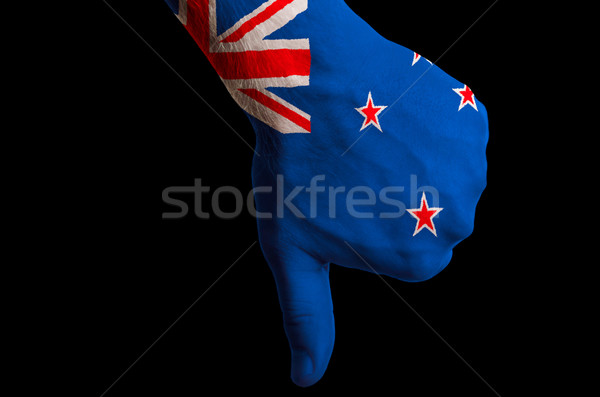 new zealand national flag thumbs down gesture for failure made w Stock photo © vepar5