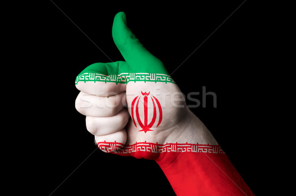 Irã bandeira polegar para cima gesto excelência Foto stock © vepar5