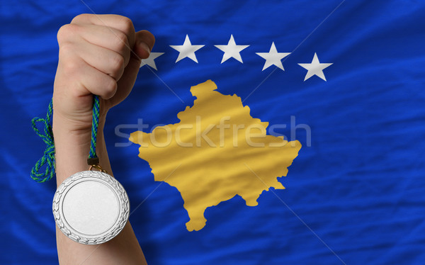 Silver medal for sport and  national flag of  of kosovo    Stock photo © vepar5