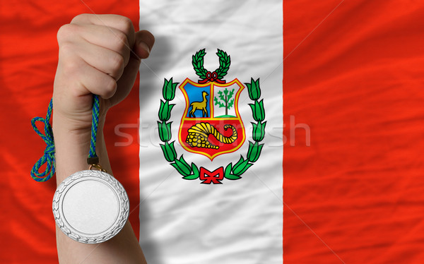 Ezüst érem sport zászló Peru tart Stock fotó © vepar5