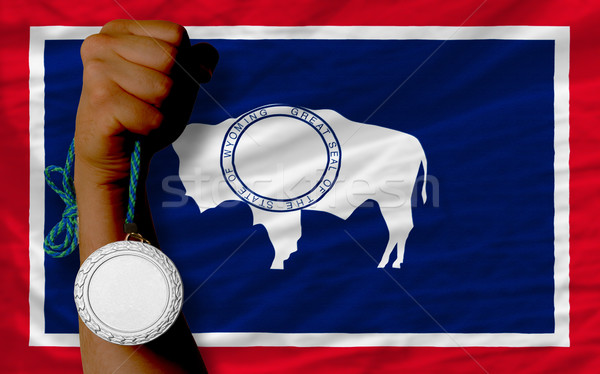 Silver medal for sport and  flag of american state of wyoming    Stock photo © vepar5