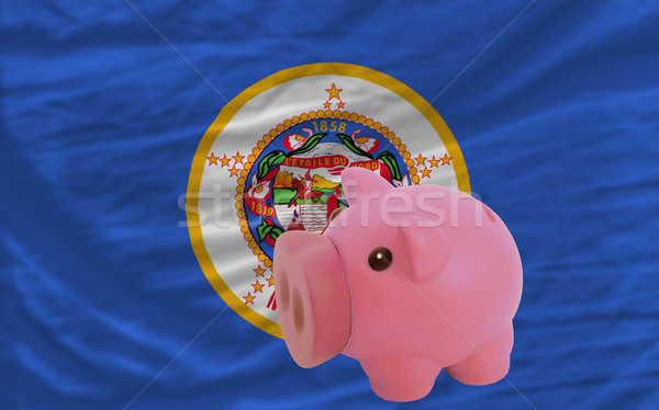 piggy rich bank and  flag of american state of minnesota    Stock photo © vepar5