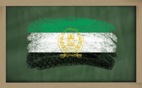 Flagge Afghanistan Tafel gemalt Kreide Farbe Stock foto © vepar5