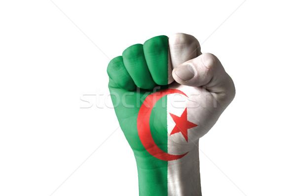 Punho pintado cores Argélia bandeira baixo Foto stock © vepar5