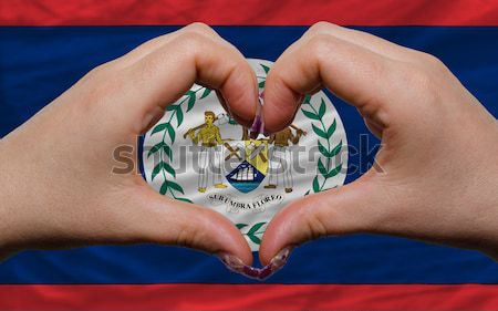 Heart and love gesture showed by hands over flag of south africa Stock photo © vepar5