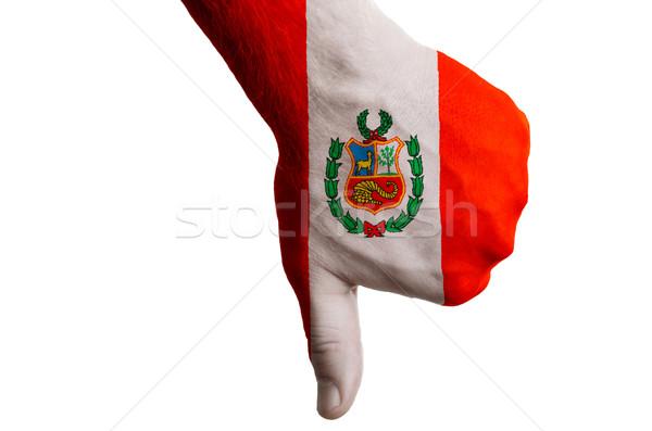 Perú bandera abajo gesto fracaso Foto stock © vepar5