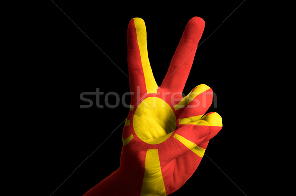 macedonia national flag two finger up gesture for victory and wi Stock photo © vepar5
