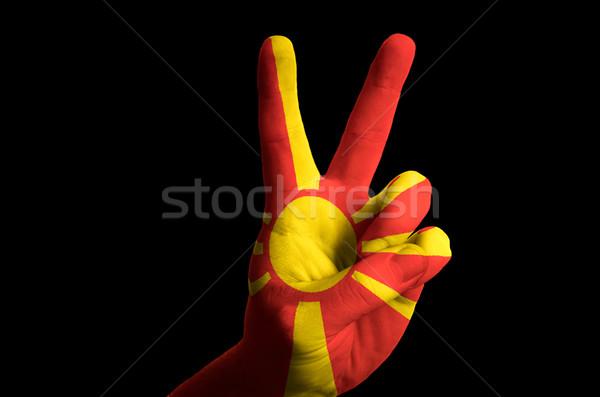 Macedonia bandera dos dedo hasta gesto Foto stock © vepar5