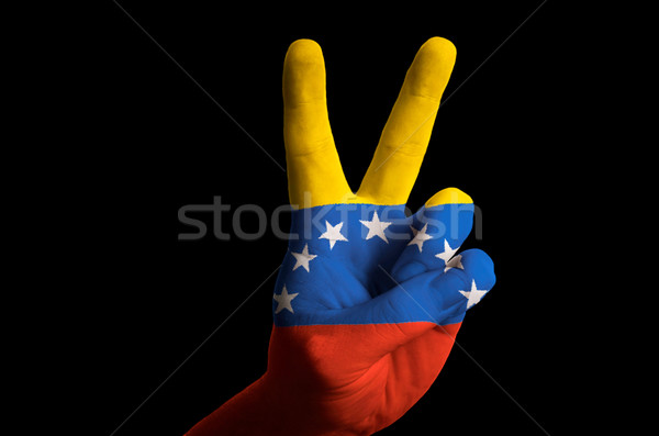 venezuela national flag two finger up gesture for victory and wi Stock photo © vepar5