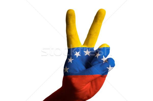 Venezuela bandeira dois dedo para cima gesto Foto stock © vepar5
