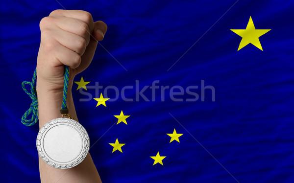 Prata medalha esportes bandeira americano Alasca Foto stock © vepar5