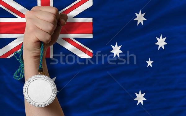 Ezüst érem sport zászló Ausztrália tart Stock fotó © vepar5