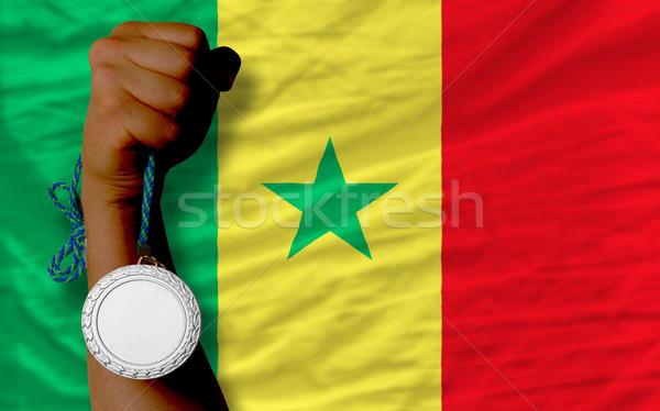 Ezüst érem sport zászló Szenegál tart Stock fotó © vepar5