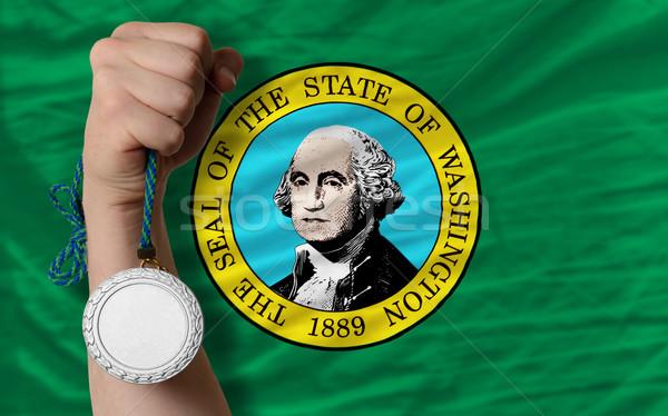 Ezüst érem sport zászló amerikai Washington Stock fotó © vepar5