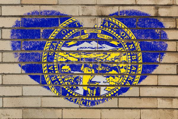 Szív alak zászló Nebraska téglafal szív alakú Stock fotó © vepar5