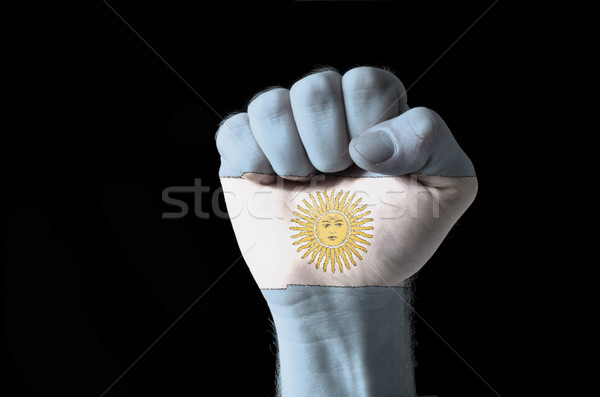 Fist painted in colors of argentina flag Stock photo © vepar5