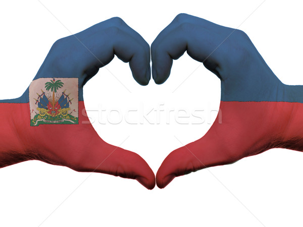 Heart and love gesture in haiti flag colors by hands isolated on Stock photo © vepar5