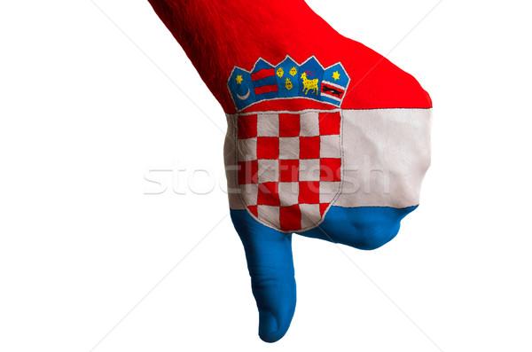 Croácia bandeira para baixo gesto falha Foto stock © vepar5