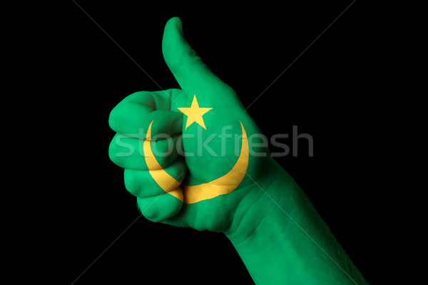 mauritania national flag thumb up gesture for excellence and ach Stock photo © vepar5