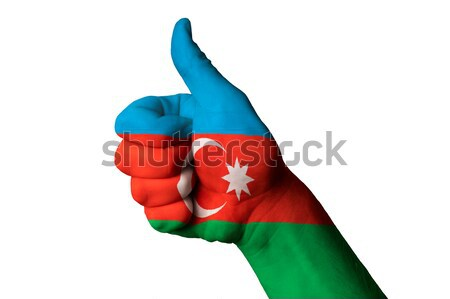 Azerbaijão bandeira polegar para cima gesto excelência Foto stock © vepar5