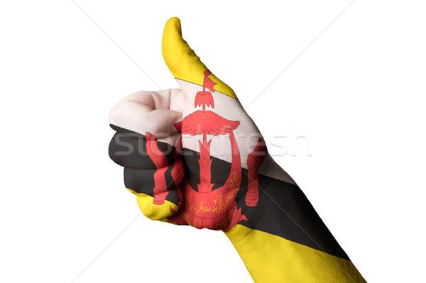 Бруней флаг большой палец руки вверх жест превосходство Сток-фото © vepar5