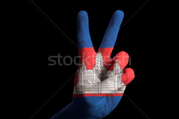 cambodia national flag two finger up gesture for victory and win Stock photo © vepar5