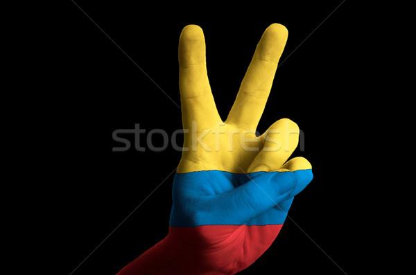 Kolombiya bayrak iki parmak yukarı jest Stok fotoğraf © vepar5
