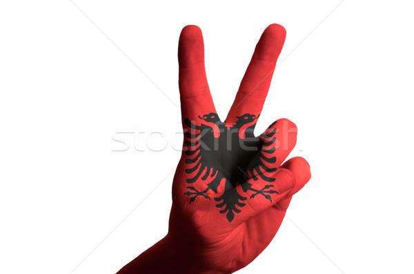 Albania bandera dos dedo hasta gesto Foto stock © vepar5