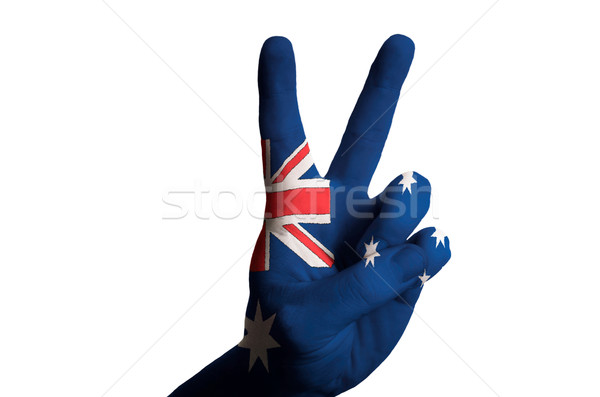 australia national flag two finger up gesture for victory and wi Stock photo © vepar5