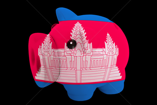 piggy rich bank in colors national flag of cambodia   for saving Stock photo © vepar5