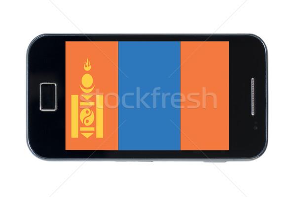Okostelefon zászló Mongólia telefon telefon felirat Stock fotó © vepar5