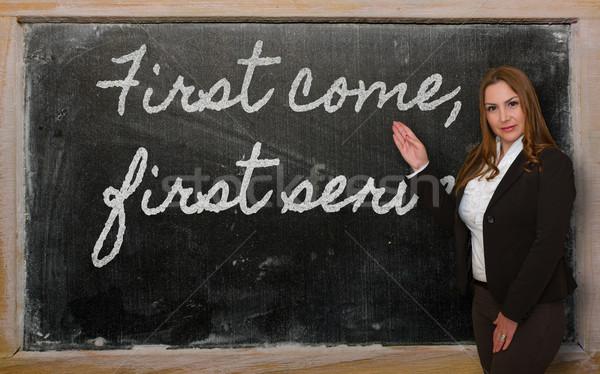 Nauczyciel pierwszy serwowane tablicy Zdjęcia stock © vepar5