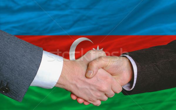 Empresarios apretón de manos buena acuerdo Azerbaiyán bandera Foto stock © vepar5