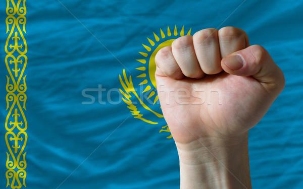 Hard fist in front of kazakhstan flag symbolizing power Stock photo © vepar5