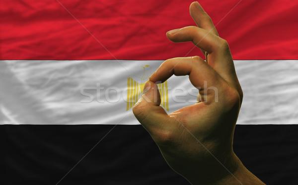 ok gesture in front of egypt national flag Stock photo © vepar5