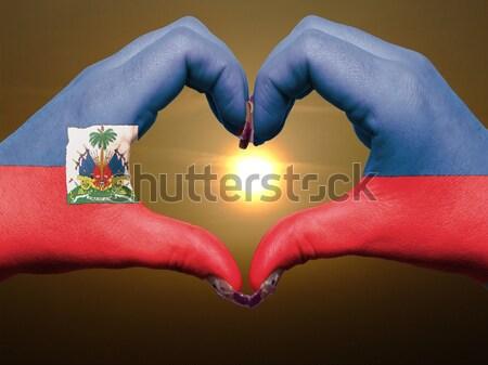 Szív szeretet kézmozdulat kezek zászló Tádzsikisztán Stock fotó © vepar5