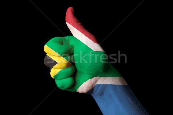 África do Sul bandeira polegar para cima gesto excelência Foto stock © vepar5