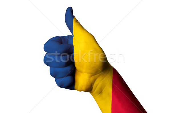 chad national flag thumb up gesture for excellence and achieveme Stock photo © vepar5