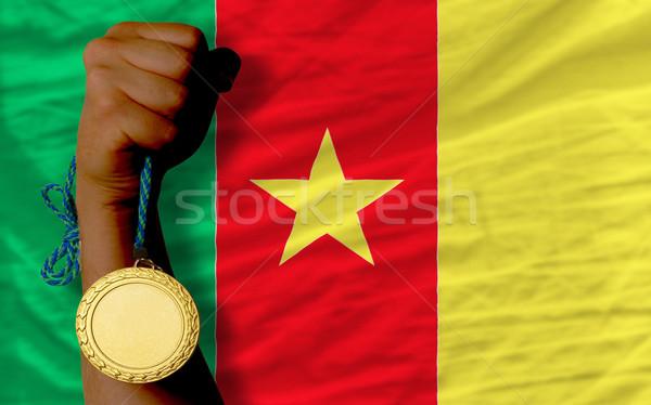 Aranyérem sport zászló Kamerun nyertes tart Stock fotó © vepar5