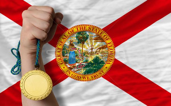 Medalha de ouro esportes bandeira americano Flórida vencedor Foto stock © vepar5