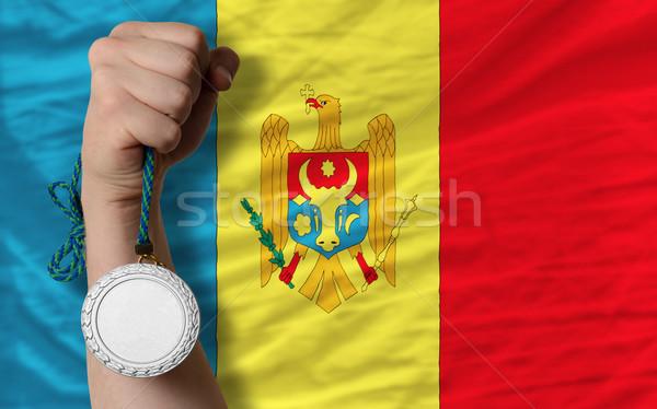 Ezüst érem sport zászló Moldova tart Stock fotó © vepar5