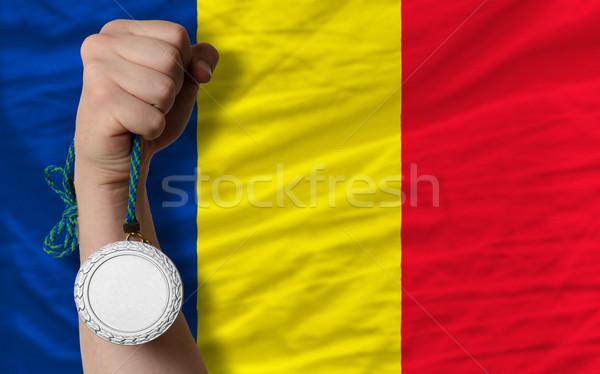 серебро медаль спорт флаг Румыния Сток-фото © vepar5