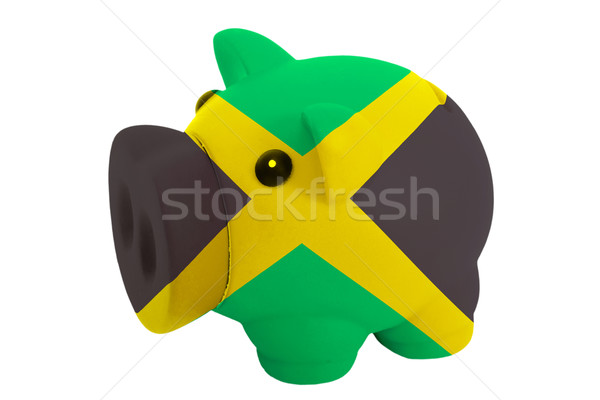 piggy rich bank in colors  national flag of jamaica    for savin Stock photo © vepar5