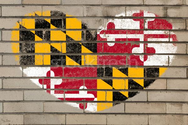 heart shape flag of maryland on brick wall Stock photo © vepar5