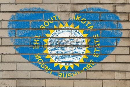 Grunge vlag Oklahoma muur geschilderd amerikaanse Stockfoto © vepar5